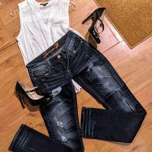 Seven 7 dark distressed straight leg Jean pants